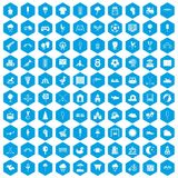 100 childrens playground icons set blue. 100 childrens playground icons set in blue hexagon isolated vector illustration Vector Illustration