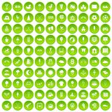 100 childrens playground icons set green circle Stock Photography