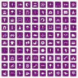 100 childrens playground icons set grunge purple. 100 childrens playground icons set in grunge style purple color isolated on white background vector Stock Photo