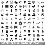 100 childrens playground icons set, simple style. 100 childrens playground icons set in simple style for any design vector illustration Stock Image