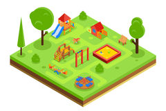 Childrens playground in isometric flat style Royalty Free Stock Photos