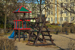 Childrens playground. Made of wood in Gdansk, Poland Royalty Free Stock Photos