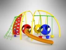 Childrens playground mesh slide balls red blue green 3d render o Stock Image