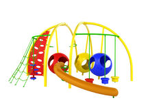 Childrens playground mesh slide balls red blue green 3d render o Royalty Free Stock Photography