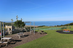 Childrens playground overlooking woolacaombe beach in devon Stock Images