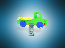 Childrens playground spring green machine 3d render on blue back. Ground Stock Images