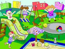 Childrens playground. Vector illustration of black and white Royalty Free Stock Images