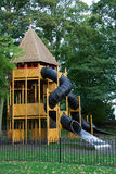 Childrens Playhouse. Large wooden playhouse in a wooded area royalty free stock photos