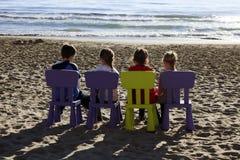 Childrens playing in beach in Alassio, Riviera dei Fiori, Savona, Liguria, Italy stock images