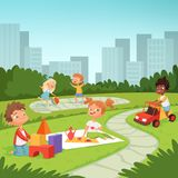 Childrens playing in educational games outdoor . Various equipment for kids. Vector childhood summer park, outdoor playtime illustration stock illustration