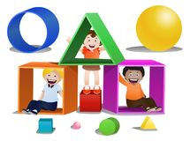 Childrens playing shape boxes on isolated Stock Photo