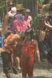Childrens are playing water in Songkran festival or Thai New Yea Stock Photo