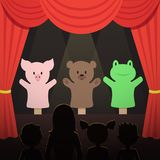 Childrens puppet theater performance with animals actors and kids audience vector illustration Stock Photography