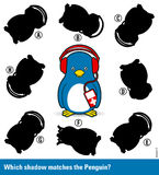 Childrens puzzle - match the shadow to the penguin Stock Photo