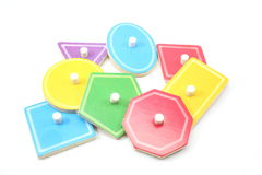 Childrens Puzzle Shapes and Colors. A nice display of childrens puzzle shapes in a variety of colors Royalty Free Stock Images