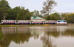 Childrens railway in park of Gagarin in Yuzhno-Sakhalinsk Royalty Free Stock Photo