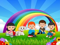 Childrens reading book in the park on rainbow day Vector Illustration