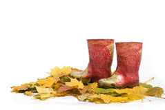 Childrens  red rubber boots on the fallen leaves. Childrens red rubber boots on the fallen leaves Royalty Free Stock Photography