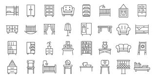 Free Childrens Room Icons Set, Outline Style Stock Photos - 191770903