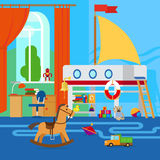 Childrens room with toys. Childrens room interior with furniture and toys royalty free illustration