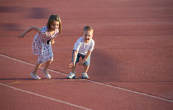 Childrens  running Royalty Free Stock Images