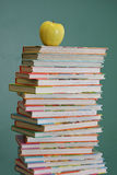Childrens school books. Tall stack of childrens school books Royalty Free Stock Photography