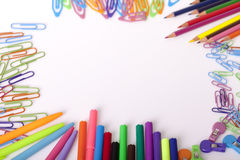 Childrens school supplies Royalty Free Stock Photos