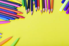 Childrens school supplies Royalty Free Stock Images