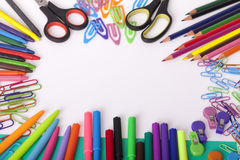 Childrens school supplies. Childrens school and office supplies on the table, Selective focus and small depth of field Stock Images
