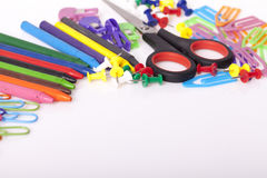 Childrens school supplies. Childrens school and office supplies on the table, Selective focus and small depth of field Royalty Free Stock Photos