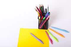 Childrens school supplies. Childrens school and office supplies on the table, Selective focus and small depth of field Royalty Free Stock Images
