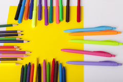 Childrens school supplies. Childrens school and office supplies on the table, Selective focus and small depth of field Stock Photography