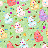 Childrens seamless pattern from cotton candy, candy and colorfu Stock Image