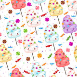 Childrens seamless pattern of funny cotton candy, candy Stock Photography