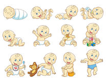 Childrens set. The gradual development of the child. Growth of  the child. Isolated vector ilustration Royalty Free Stock Images