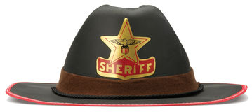 Childrens sheriff cowboy dressing up hat on a whit Royalty Free Stock Photography