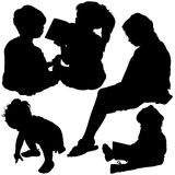 Childrens Silhouettes. Black Illustrations, Vector vector illustration