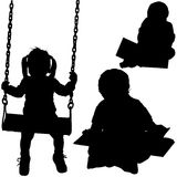 Childrens Silhouettes. Preschoolers - black childrens silhouettes, vector royalty free illustration