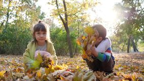 Childrens sit with yellow leaves in hands on background of trees and foliage at autumn park in sunlight. Childrens sit with yellow leaves in hands on background stock video