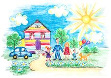 Childrens Sketch With Happy Family Stock Images