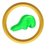 Childrens slide elephant icon. In golden circle, cartoon style isolated on white background Royalty Free Illustration