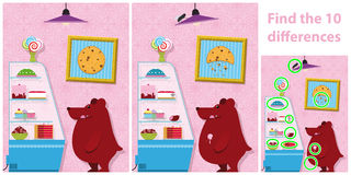 Childrens spot the difference puzzle of a bear. Childrens educational spot the difference puzzle of a bear with two versions of a vector illustration with 10 Royalty Free Stock Photos