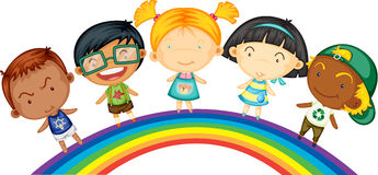 Childrens Standing on Rainbow Royalty Free Stock Image