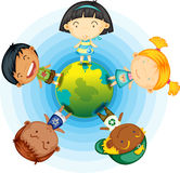 Childrens Standing Round the Globe Stock Image