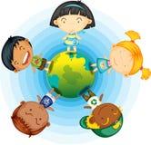Childrens Standing Round the Globe Stock Image