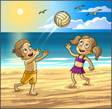 Childrens summer activities. Happy kids boy and girl are playing with ball on sbeach. Royalty Free Stock Photography