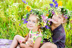 Childrens on summer nature Stock Photo