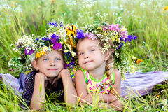 Childrens on summer nature Royalty Free Stock Photography
