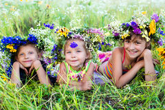 Childrens on summer nature Royalty Free Stock Photo