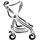 Childrens summer stroller, black lines.  vector illustration